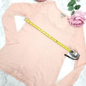 LUCKY BRAND Long Sleeves Waffle Knit Top